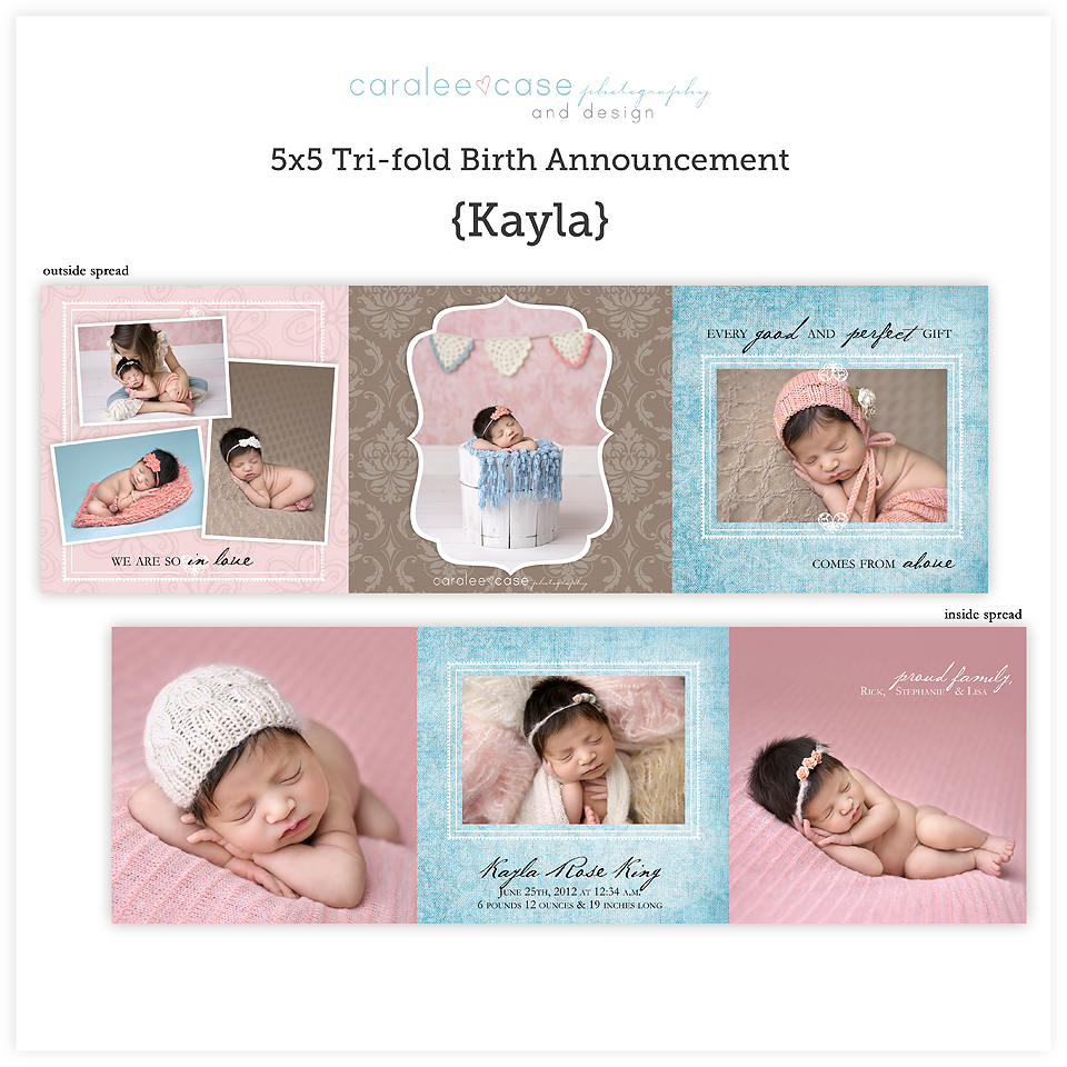 Birth Announcements5 5 Trifold Kayla Caralee Case Photography – Tri Fold Birth Announcement
