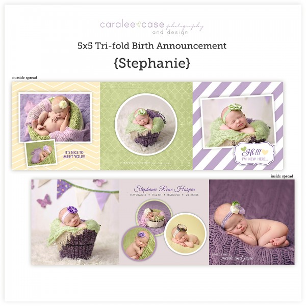 Birth Announcements5 5 Trifold Stephanie Caralee Case Photography – Tri Fold Birth Announcement