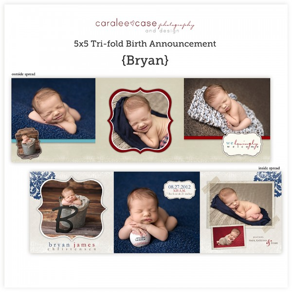 Birth Announcements5 5 Trifold Bryan Caralee Case Photography – Tri Fold Birth Announcement