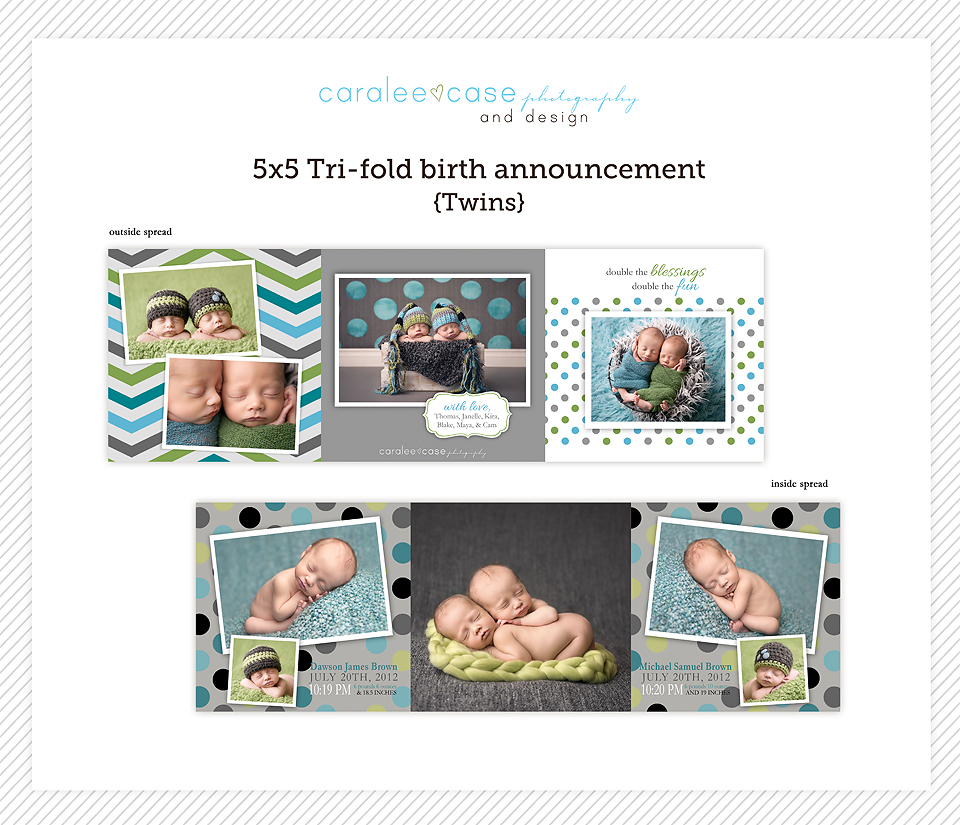 TWINNERSNew to the shop a 5 5 TriFold Birth Announcement – Tri Fold Birth Announcement