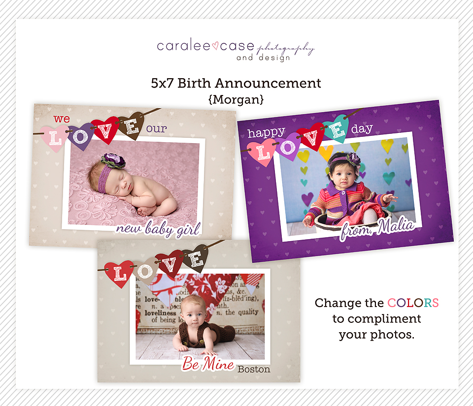 Store Caralee Case Photography – Valentine Birth Announcement