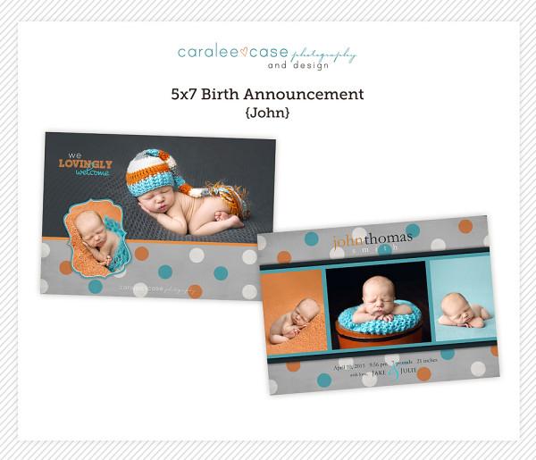 5x7 birth announcement template john