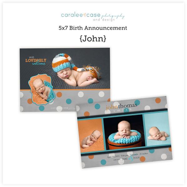 5x7 Birth Announcement John sq