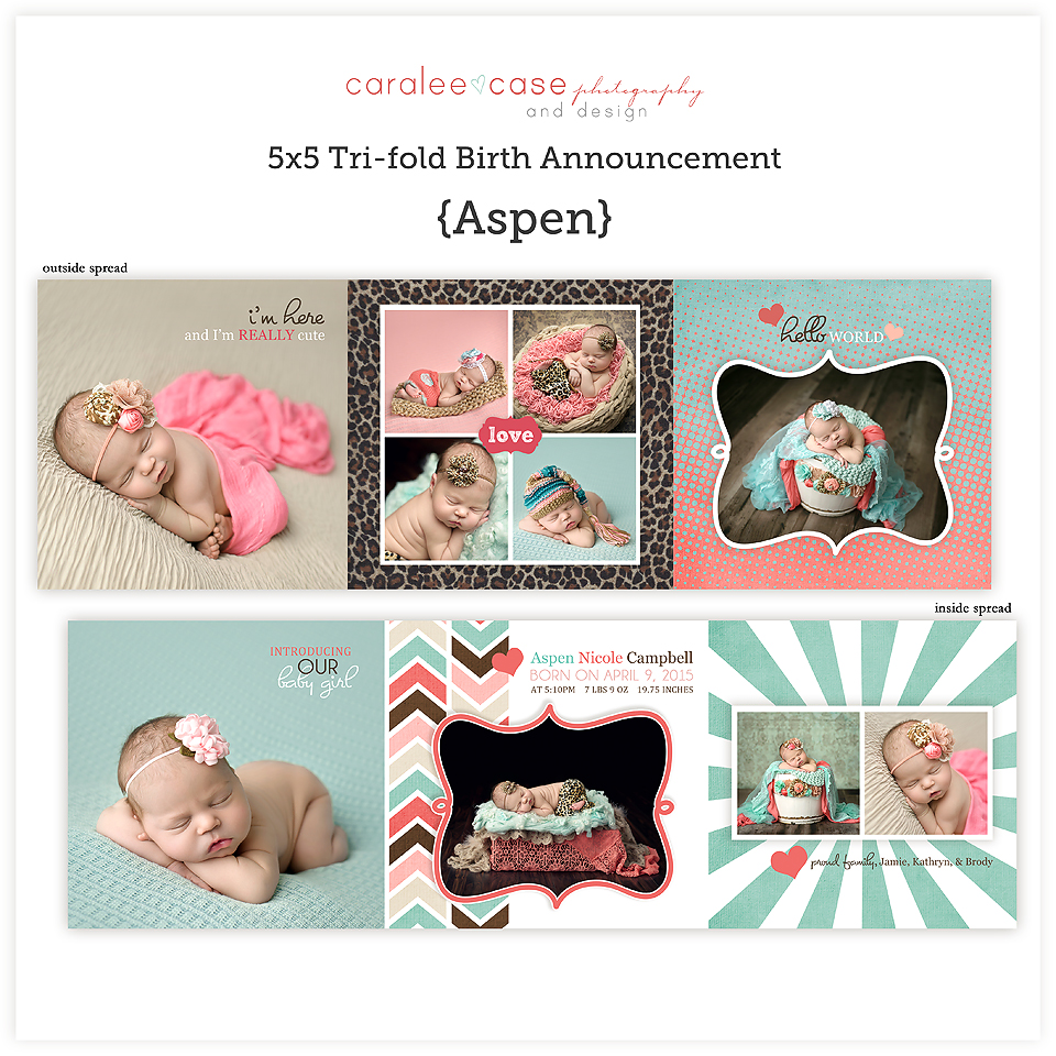 Birth Announcements5 5 Trifold Aspen Caralee Case Photography – Tri Fold Birth Announcement