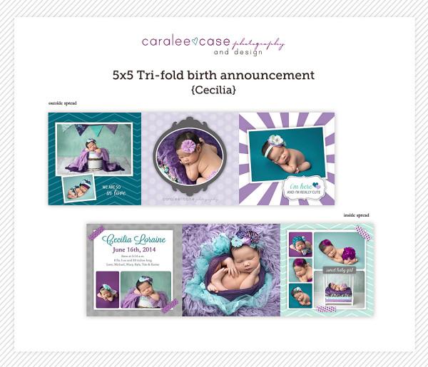Trifold Birth Announcement {Cecilia}