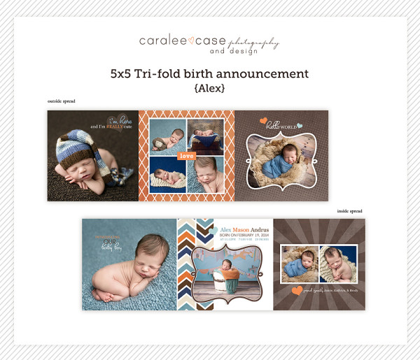 Birth Announcements5 5 Trifold Alex Caralee Case Photography – Tri Fold Birth Announcement