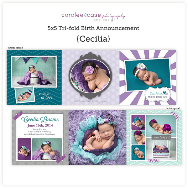 Trifold Birth Announcement {Cecilia} sq