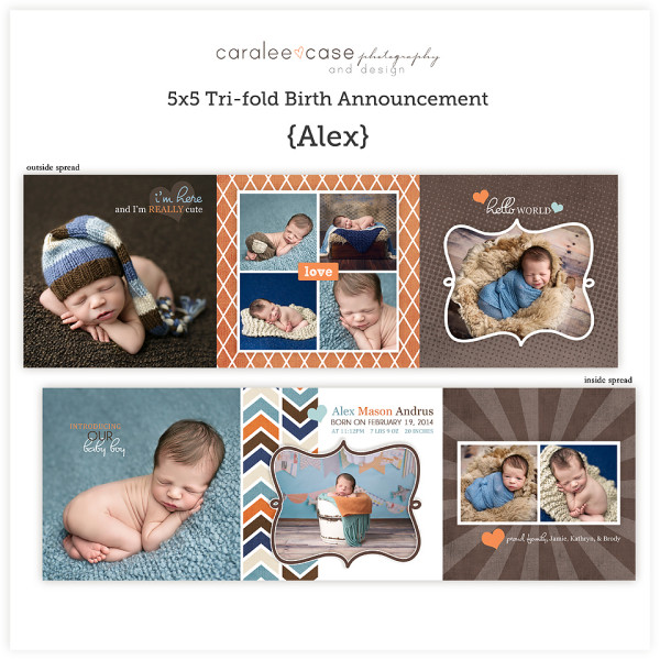Trifold Birth Announcement {Alex} sq