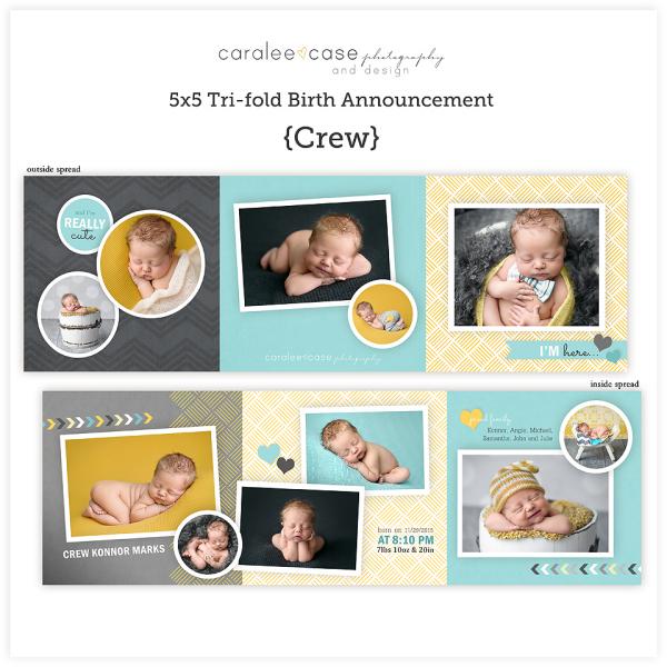 Trifold Birth Announcement {Crew} sq