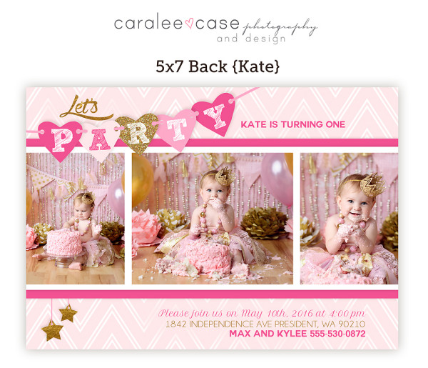 5x7 Kate Party Invitation closeup