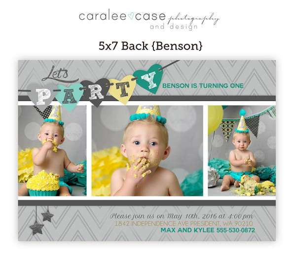 5x7 Benson Party Invite closeup