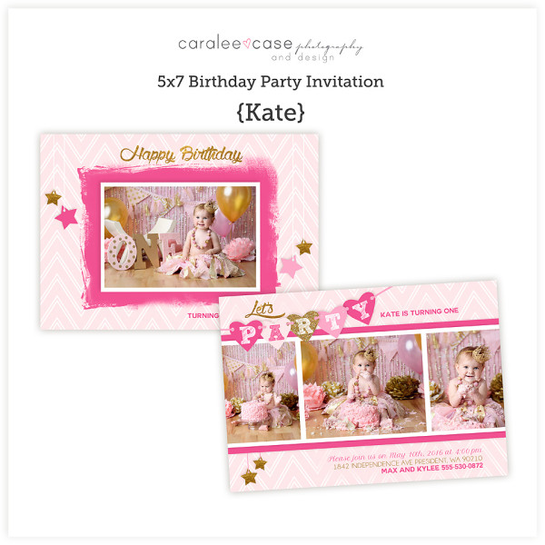 5x7 Kate Party Invitation sq