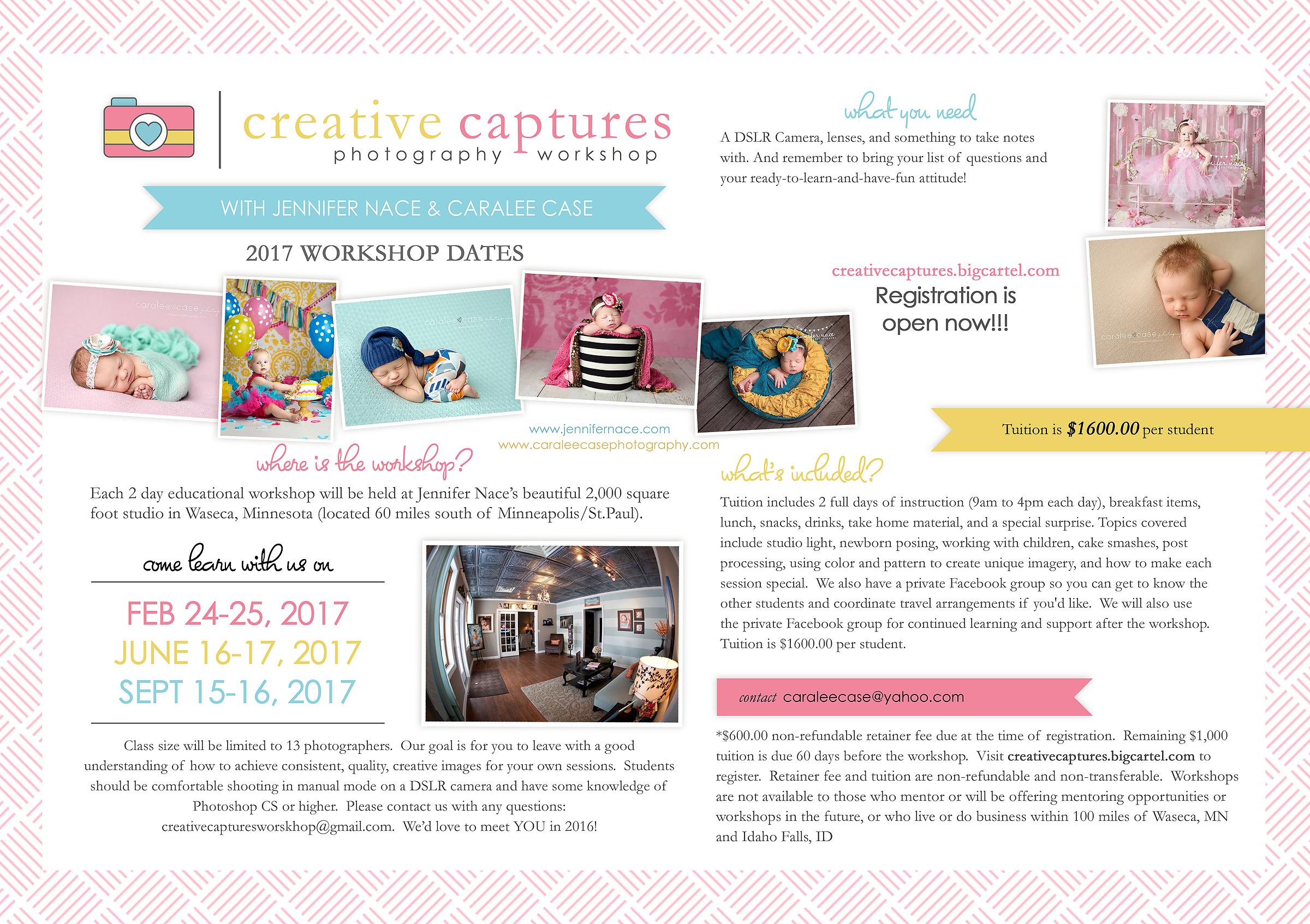 Creative Captures Photography Workshop 2017 Dates Flier 2 ~ Caralee Case Photography