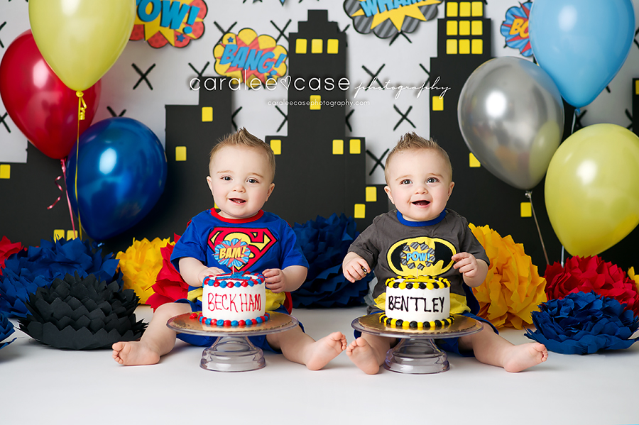 ID Baby Child TWINS Birthday Cake Smash Photographer Caralee Case Photography