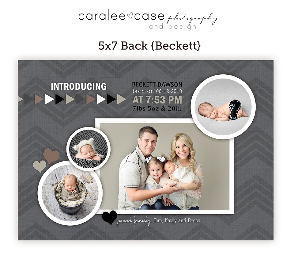 5x7 birth announcement Template {Beckett} closeup ~ Caralee Case Photography
