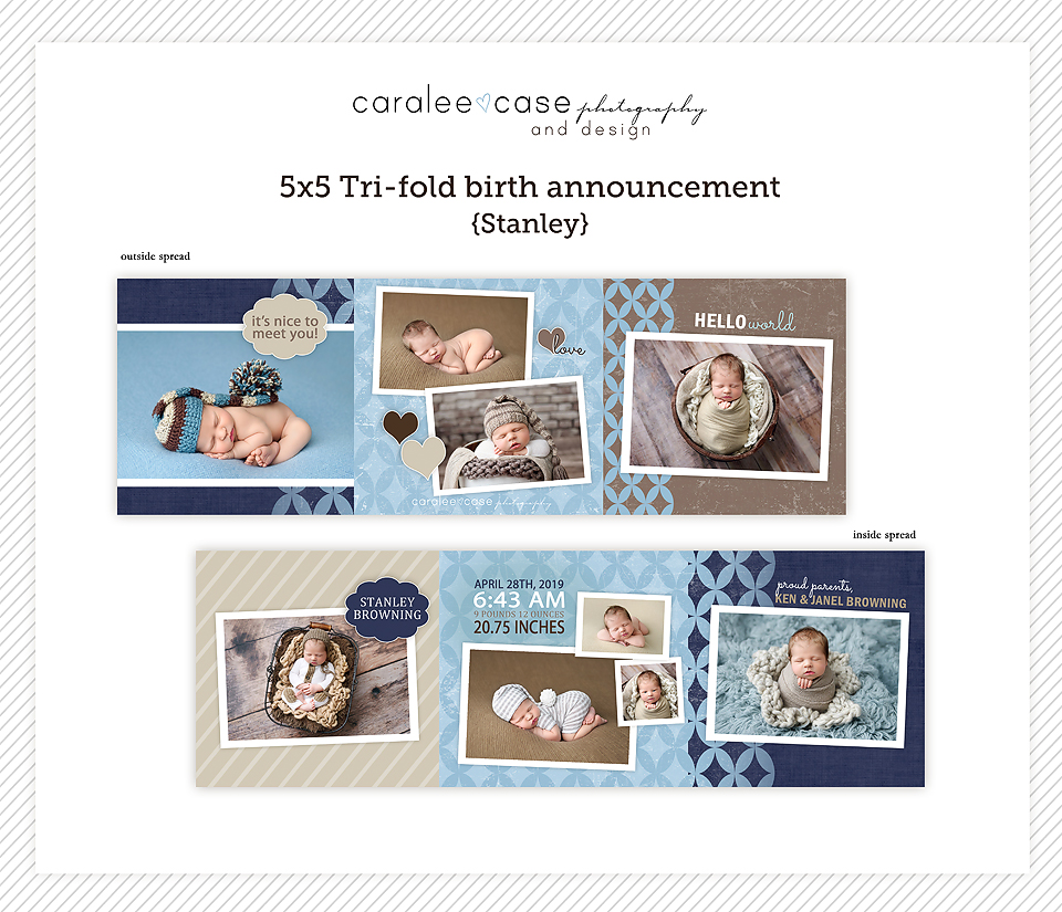 Trifold Card Template Stanley~ Caralee Case Photography and Design Templates for Photographers