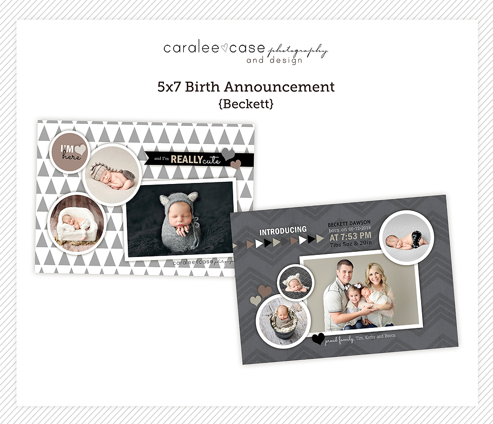 5x7 birth announcement Template {Beckett} ~ Caralee Case Photography