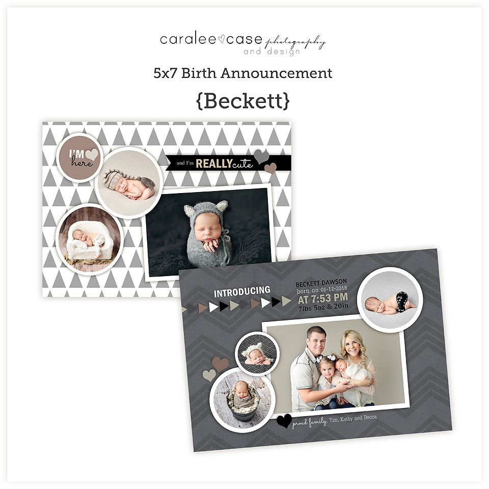 5x7 birth announcement Template {Beckett} square ~ Caralee Case Photography