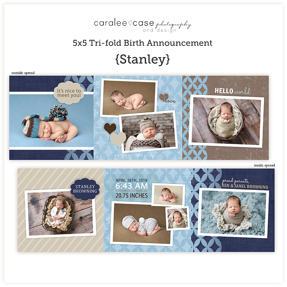 Trifold Card Template Stanley Square ~ Caralee Case Photography and Design Templates for Photographers