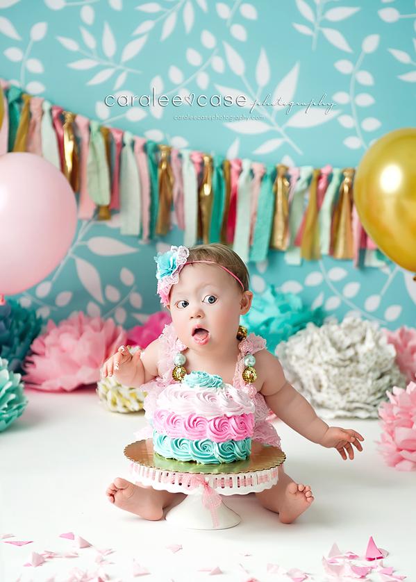 Ammon Idaho Baby Child Birthday Cake Smash Photographer ~ Caralee Case Photography