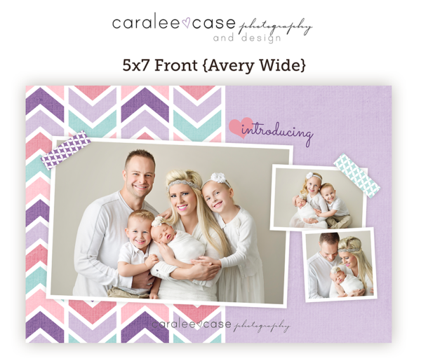 5x7 birth announcement Closeup Template Avery Caralee Case Photography