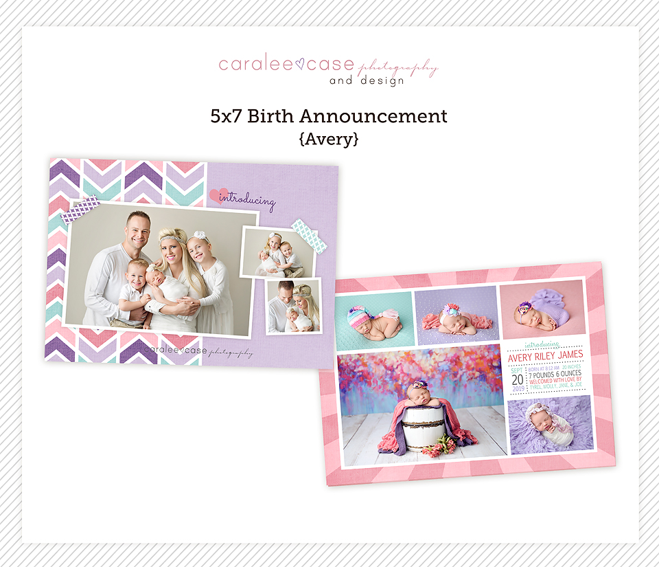 Caralee Case Photography Templates Store 5x7 double sided card birth announcement Template for photographers