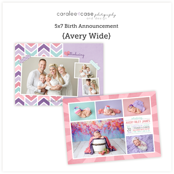 5x7 birth announcement Template Avery Caralee Case Photography sq