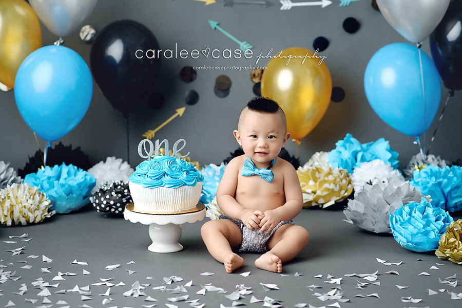 American Falls Idaho Child Baby Cake Smash Birthday Studio Photographer ~ Caralee Case Photography