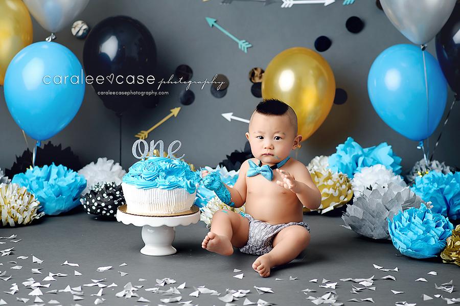 Twin Falls Idaho Child Baby Cake Smash Birthday Studio Photographer ~ Caralee Case Photography