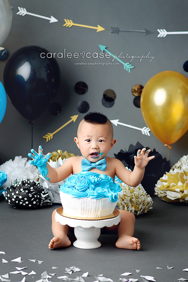 Blackfoot Idaho Child Baby Cake Smash Birthday Studio Photographer ~ Caralee Case Photography