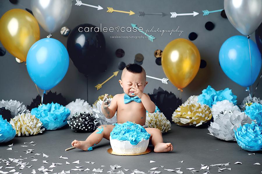 Pingree Idaho Child Baby Cake Smash Birthday Studio Photographer ~ Caralee Case Photography