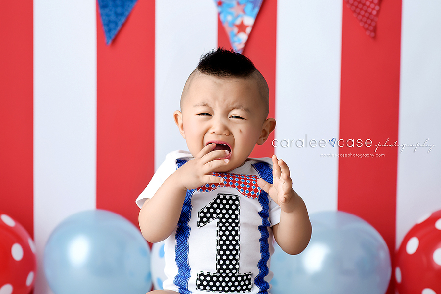 Rexburg, Idaho Child Baby Cake Smash Birthday Studio Photographer ~ Caralee Case Photography
